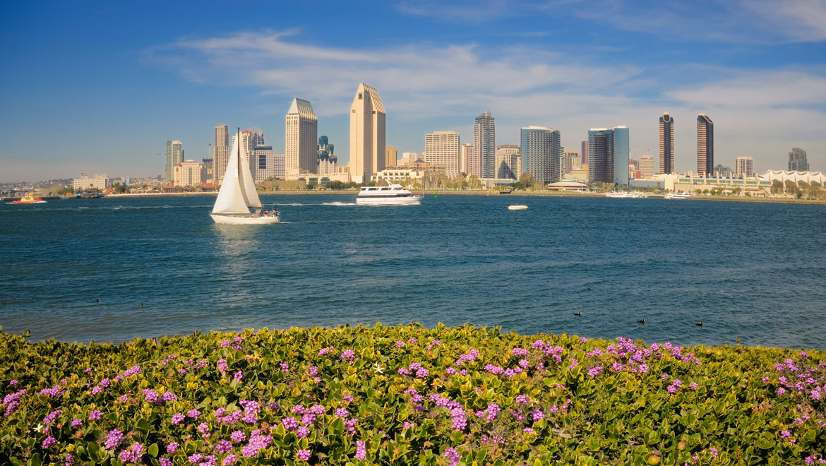 San Diego skyline in the spring