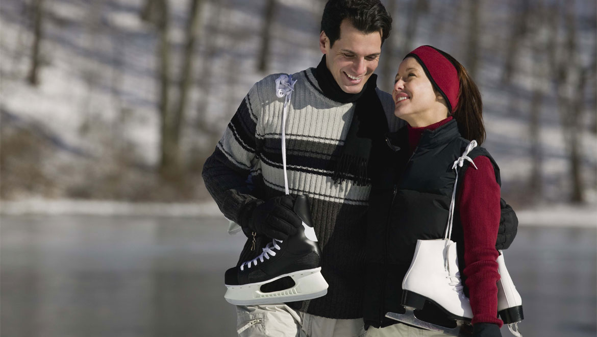 Couple with ice skates