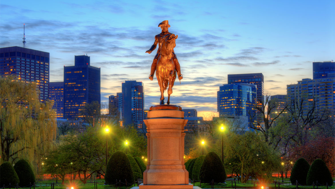 Statue with Boston background
