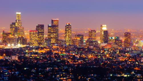 Los Angeles at dusk with lights