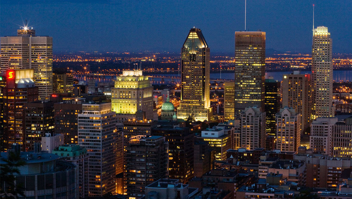 Montreal aerial view at night