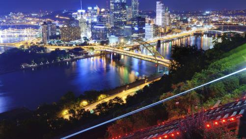 Pittsburgh aerial view at night