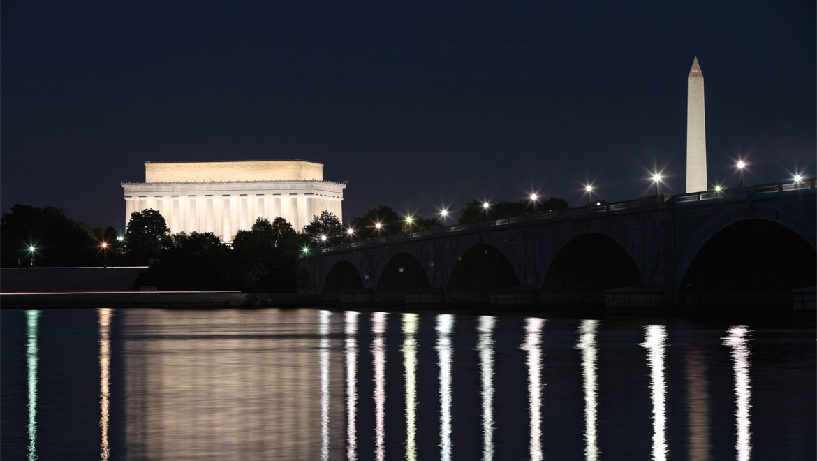 Washington DC monuments at night