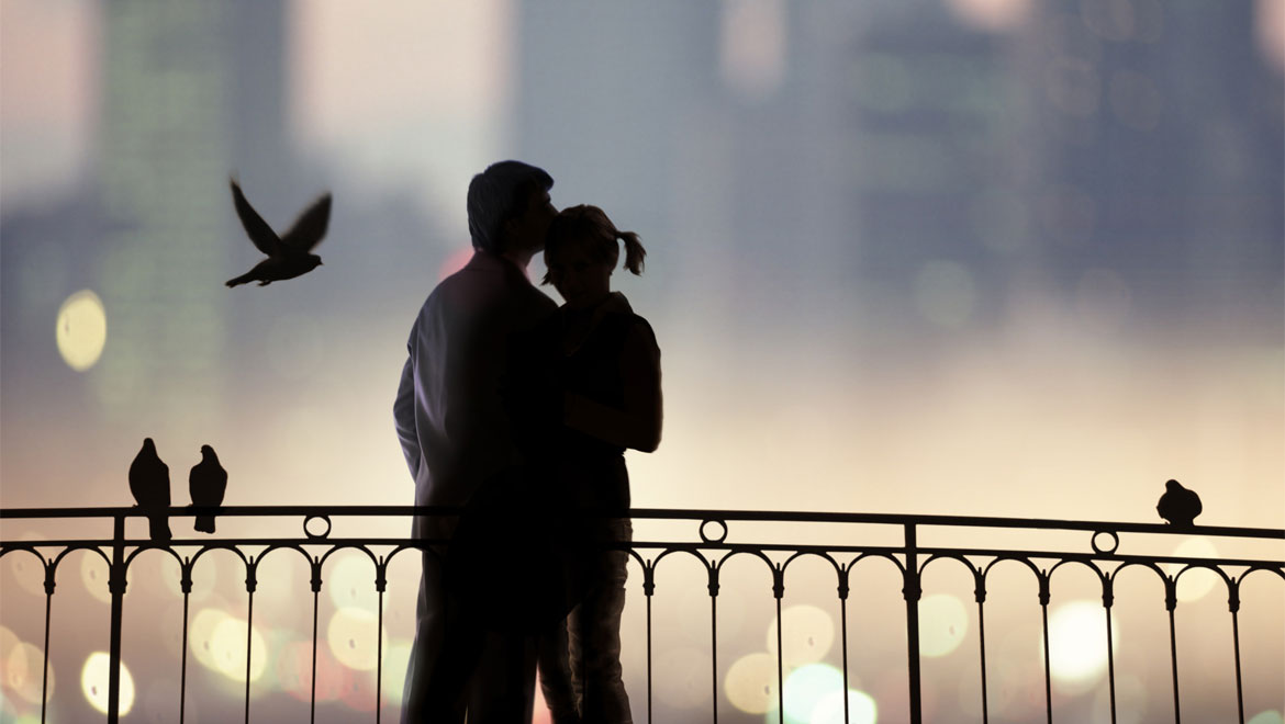 Couple on bridge - romantic
