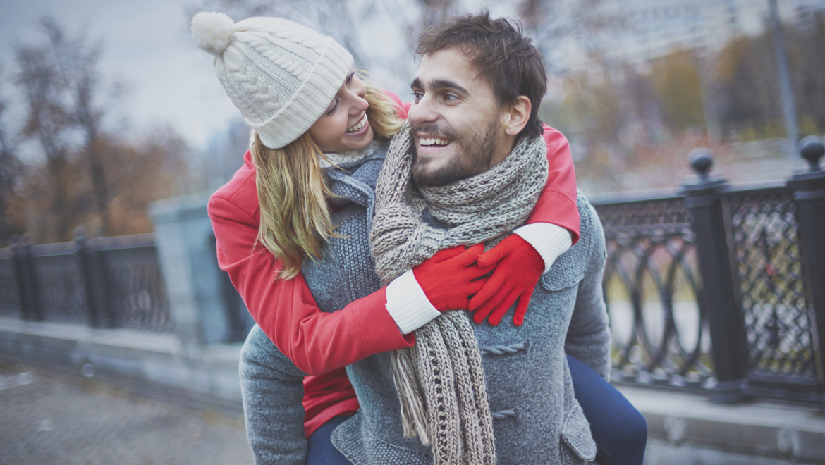 Couple enjoying winter