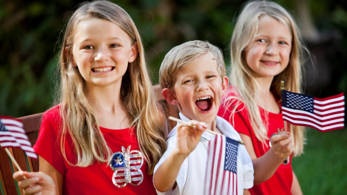 Children with Flags