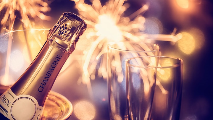 Sparklers and champagne