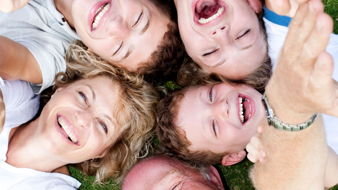 Family laughing aerial