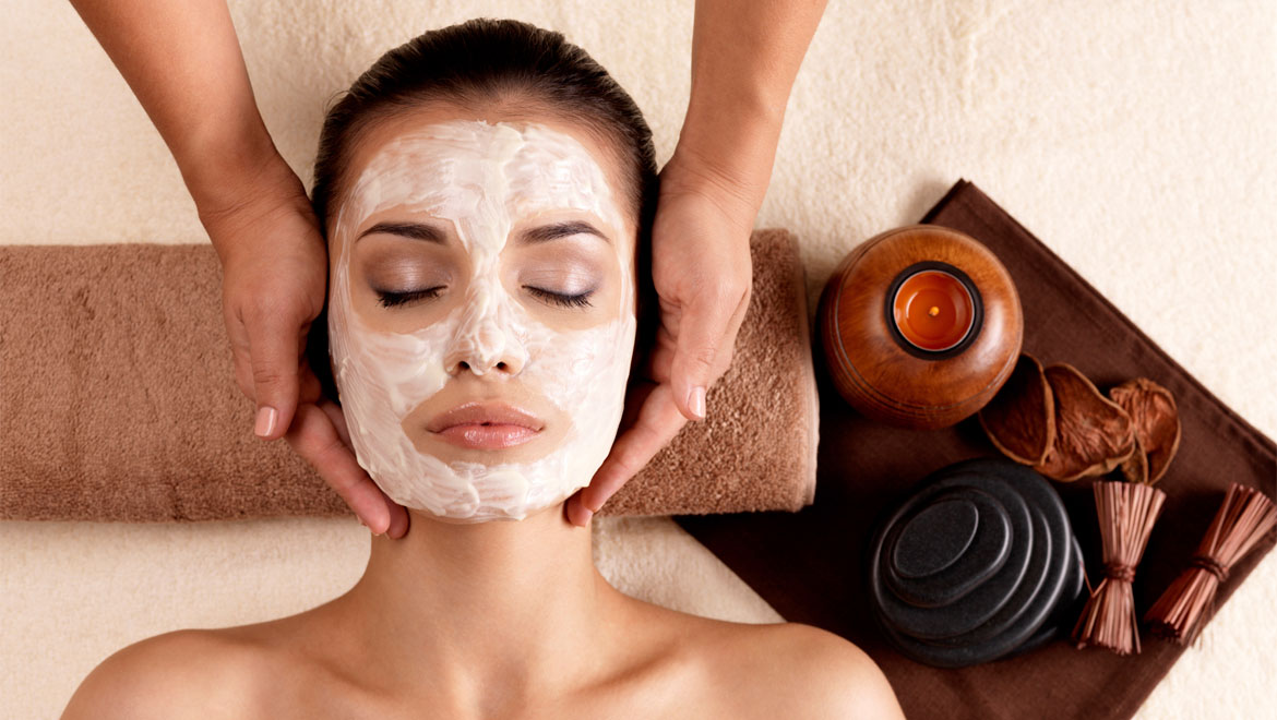 Woman relaxing facial