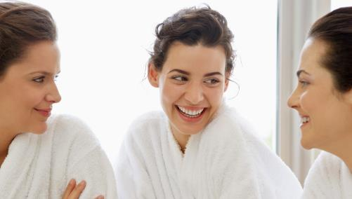 Women in robes at the spa