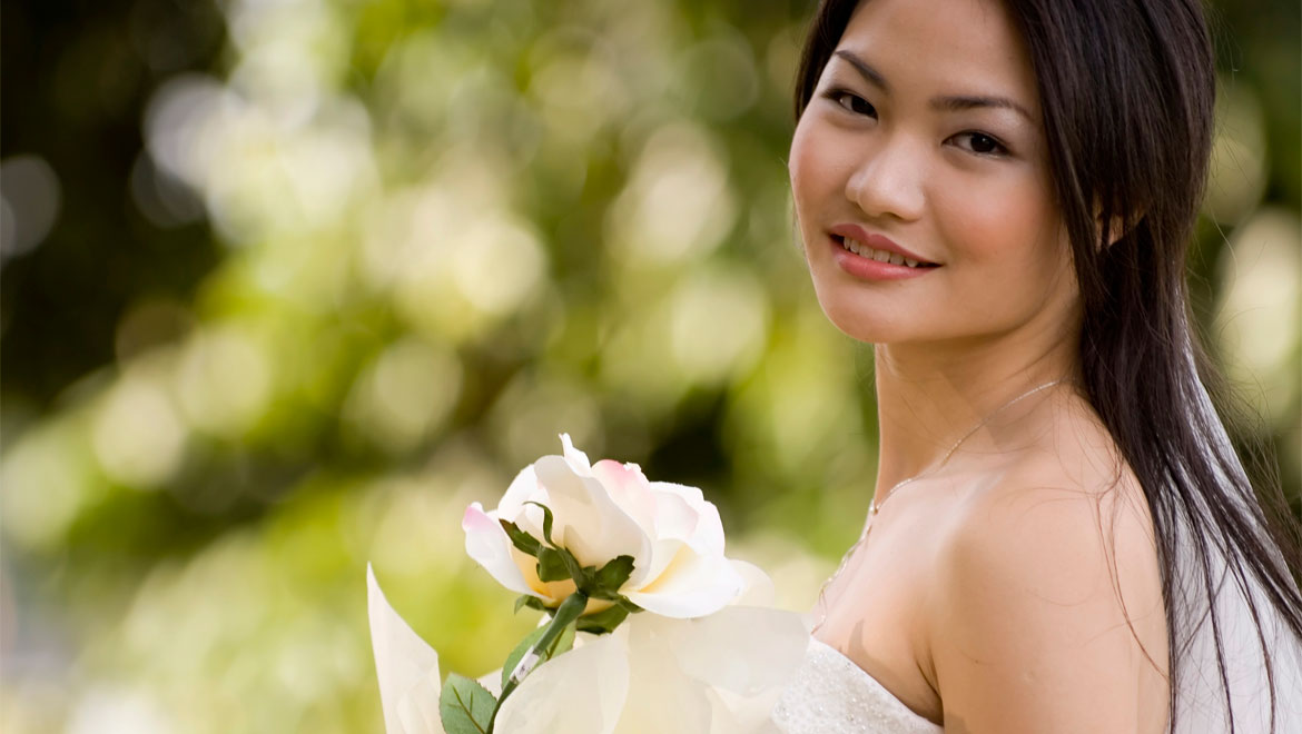 Bride with white rose