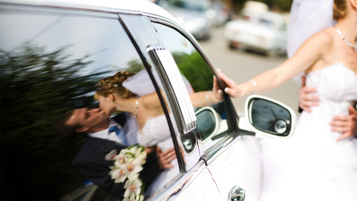 Newlyweds and car