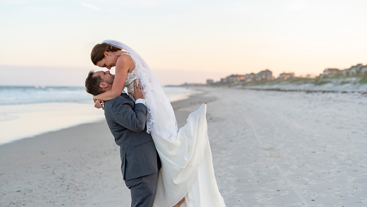 Bride and Groom Beachside Wedding at Omni Amelia Island