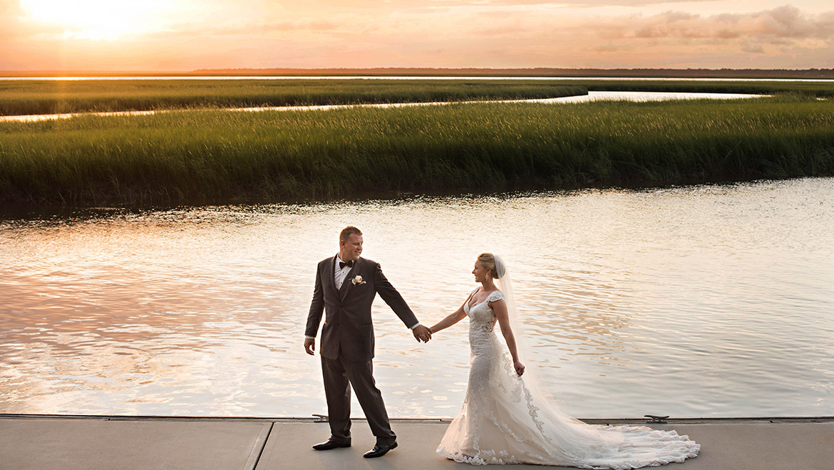Bride and Groom at Walker's Landing