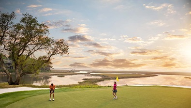 Golfing at sunset on Oak Marsh
