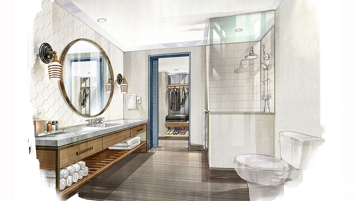 Rendering of guest bath at Omni Hotel at The Battery Atlanta