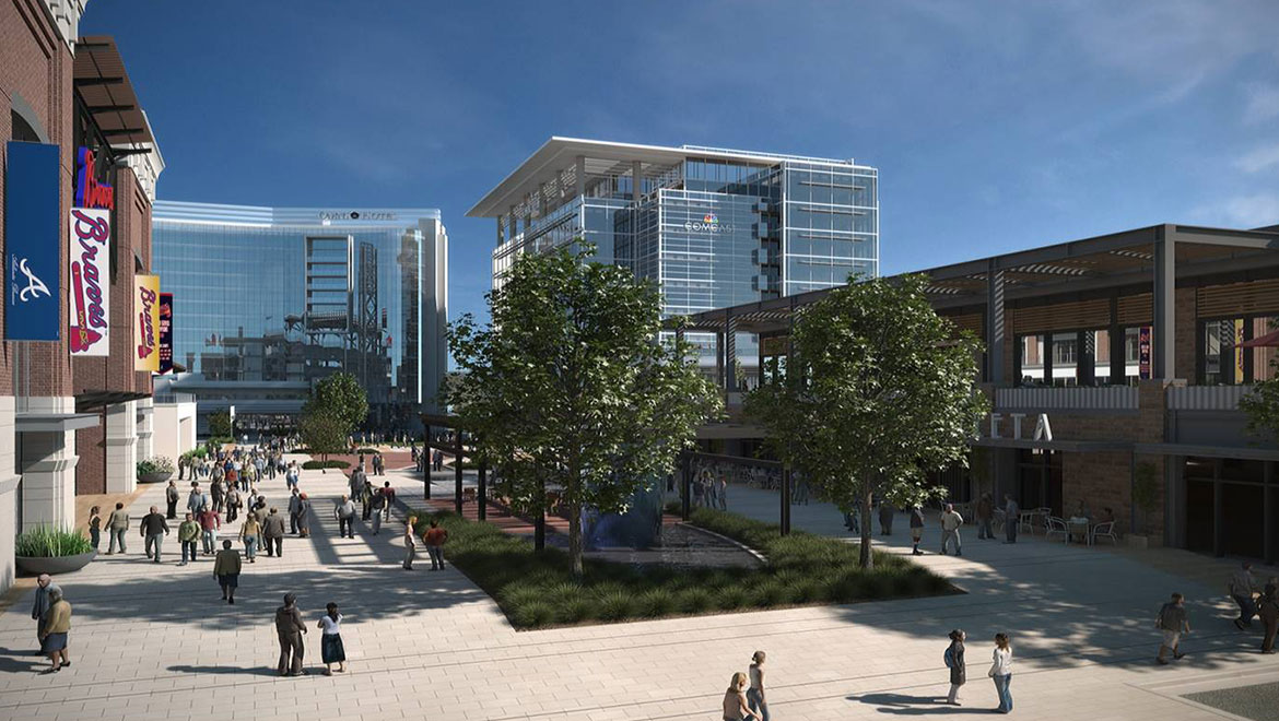 Rendering of plaza outside Omni Hotel at The Battery Atlanta