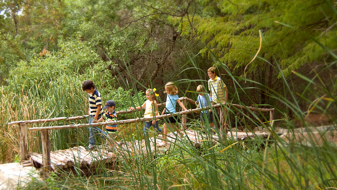 Family on nature trail at Barton Creek