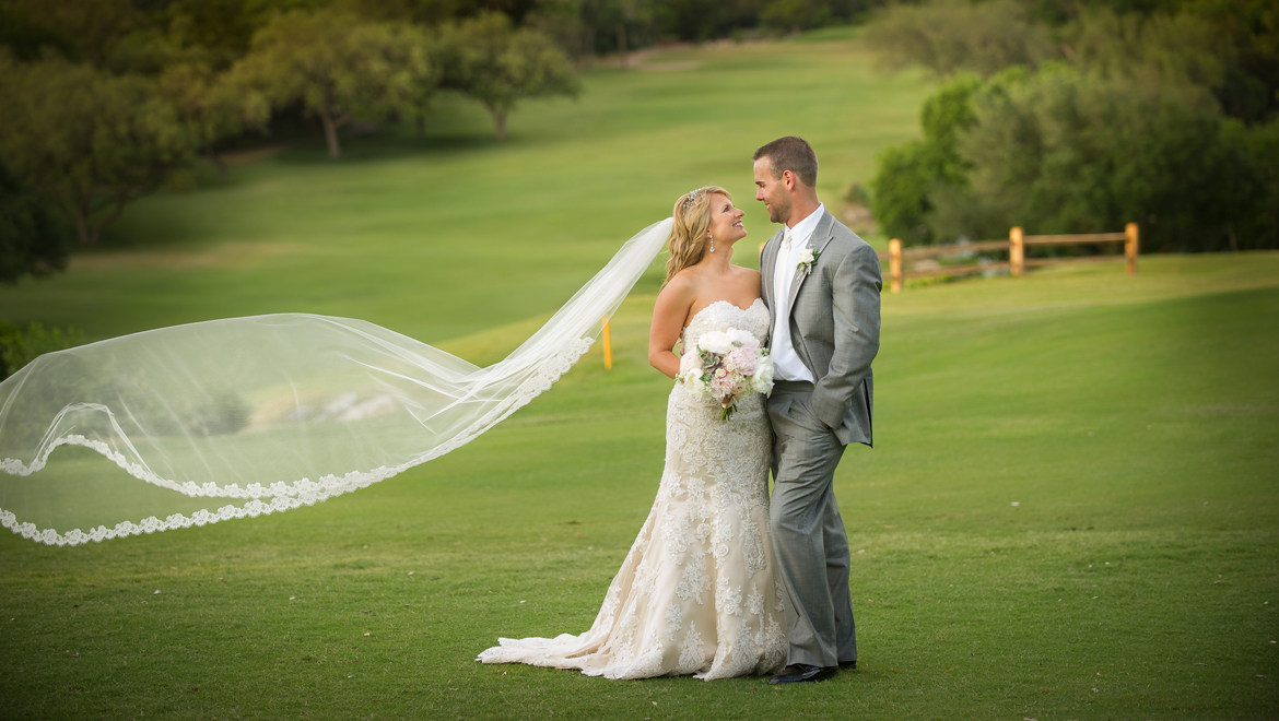 Bride and groom at Omni Barton Creek Resort