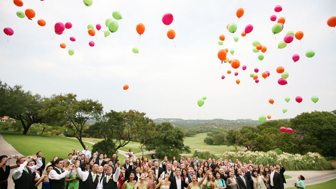 Wedding balloon release at Barton Creek
