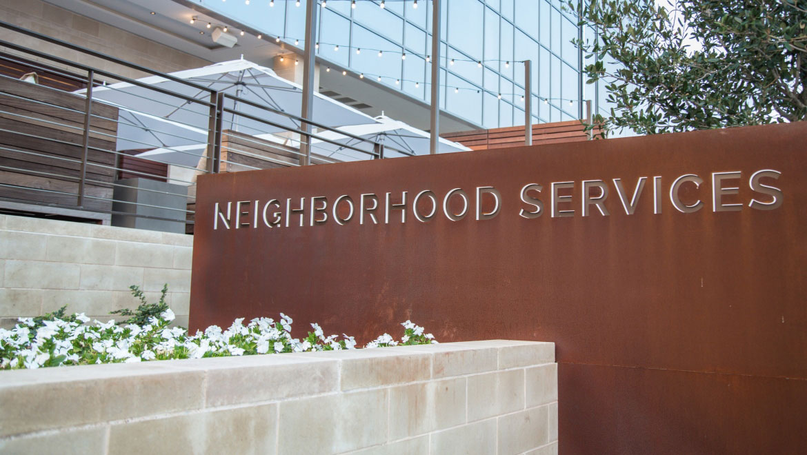exterior sign of neighborhood services