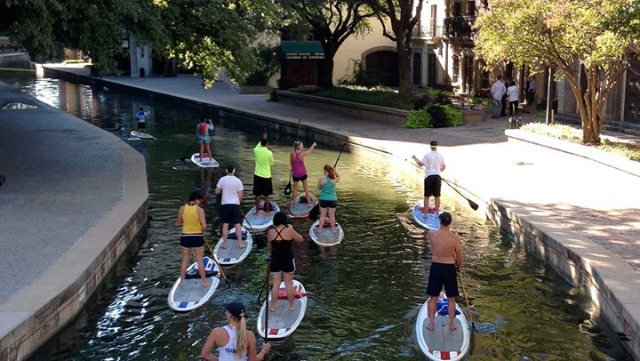 Paddle boarding on Mandalay Canal