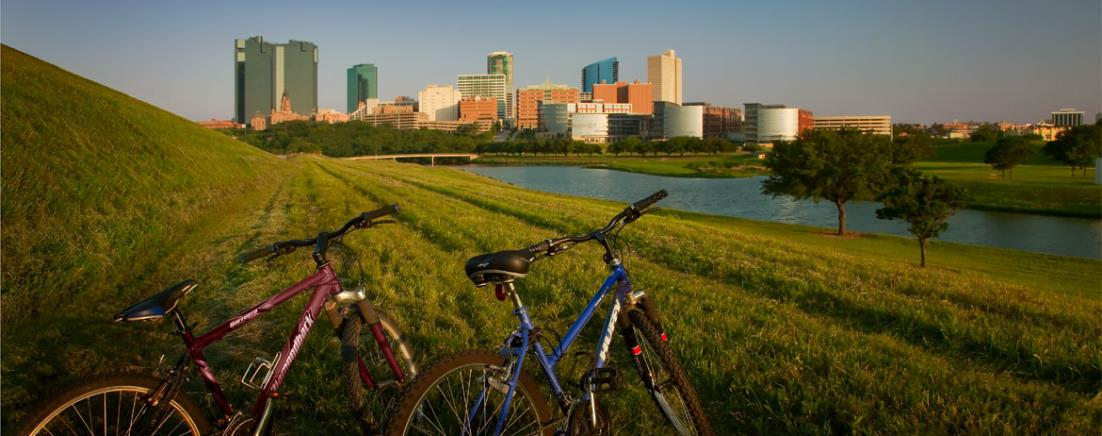 Bikes in front of Fort Worth skyline