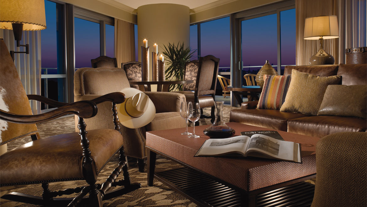 Suite Living Area At Fort Worth Hotel