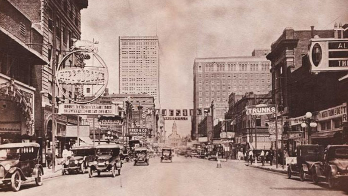 South of downtown Fort Worth circa 1920