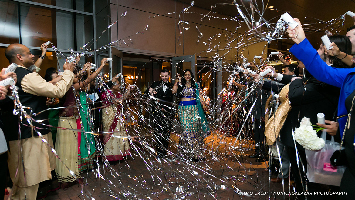 Bride and groom confetti send off