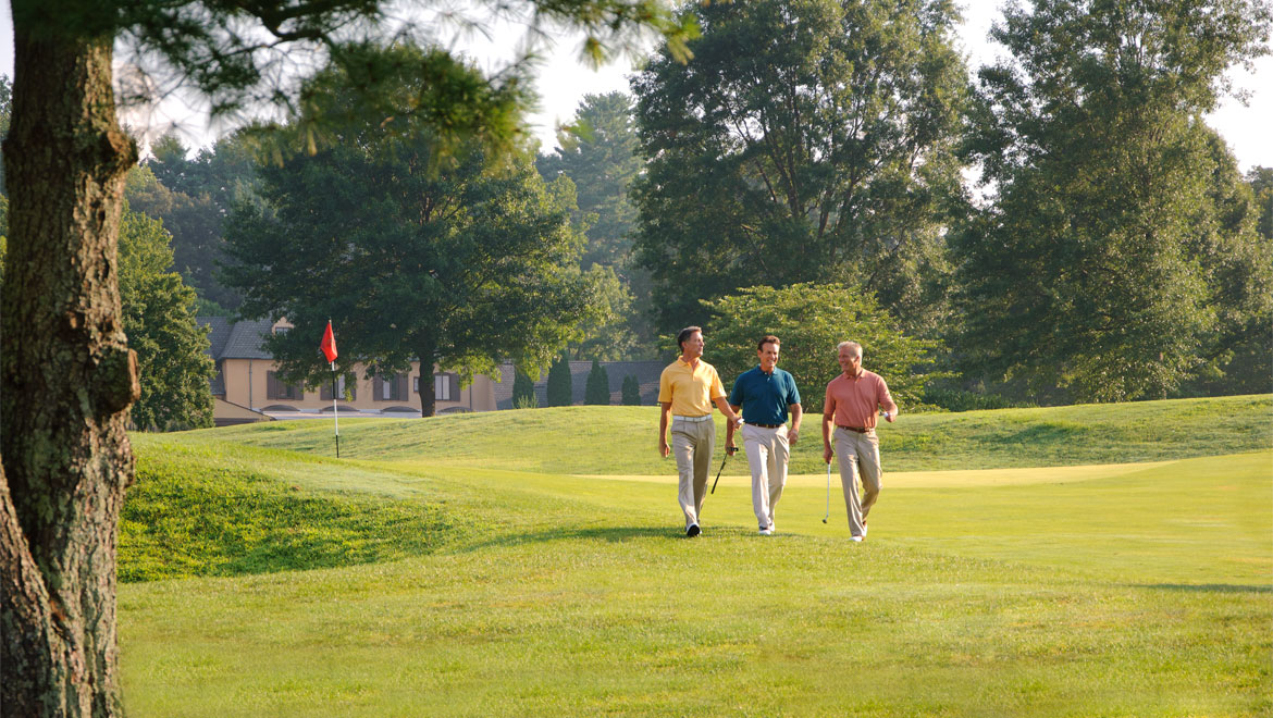 Men walking the Grove Park Inn golf course