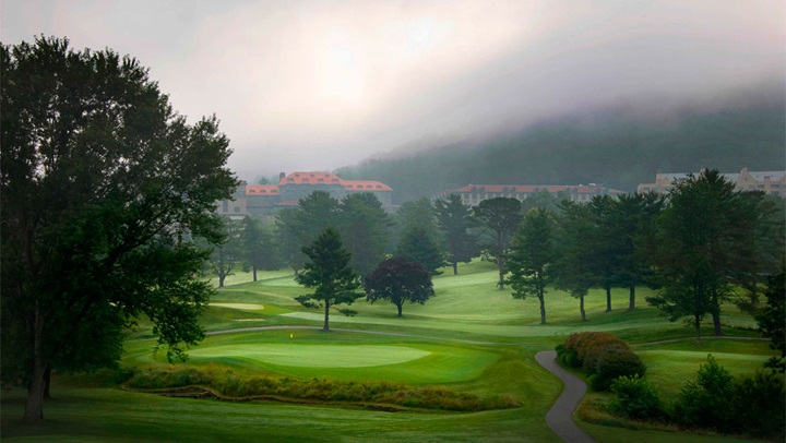 Foggy golf course in Asheville