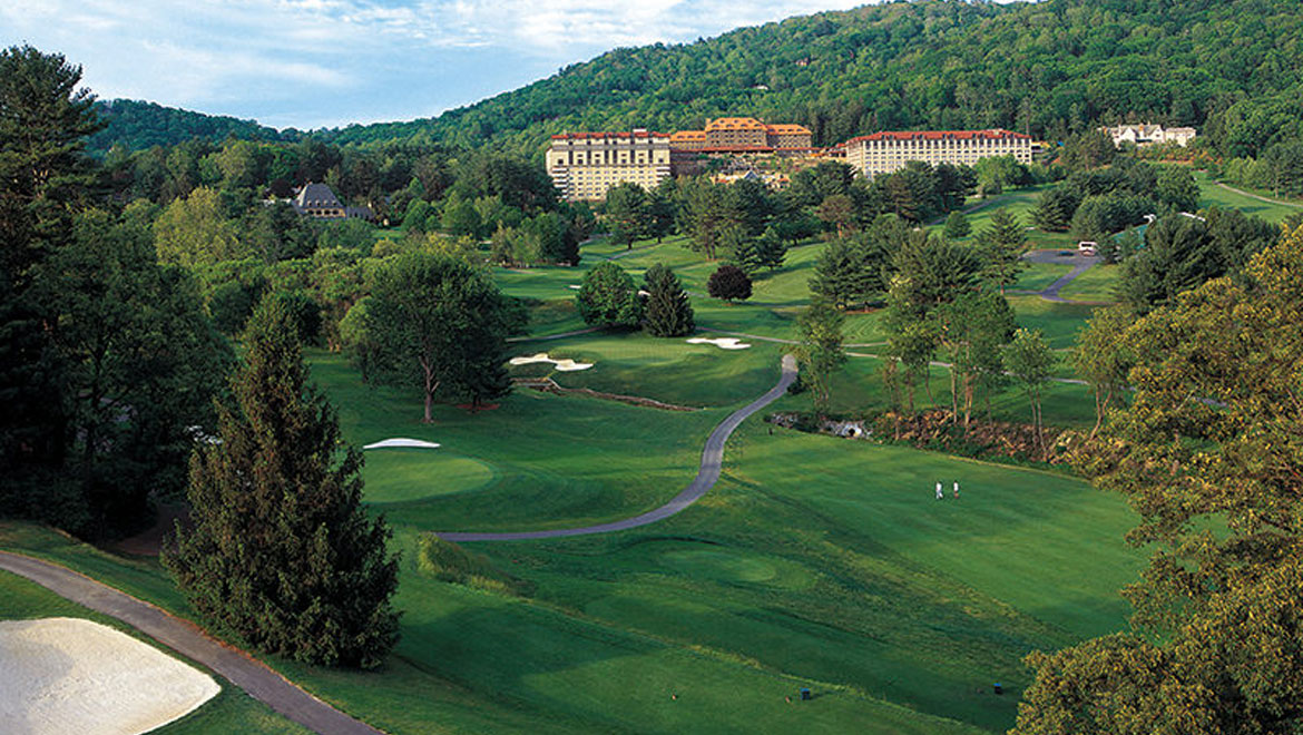 Golf course and resort view at Grove Park Inn