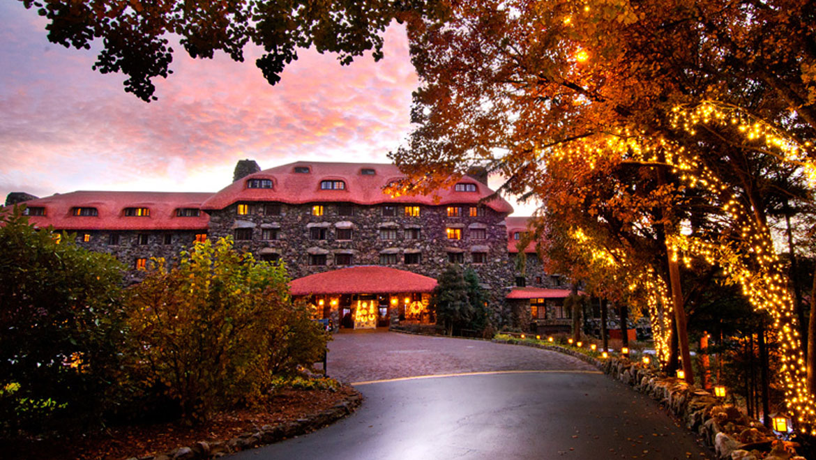 Entrance to Grove Park Inn at sunset
