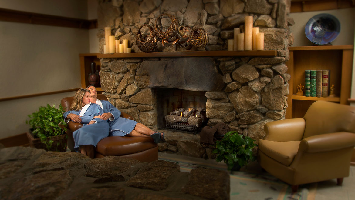 Co-ed relaxation room by the fireplace