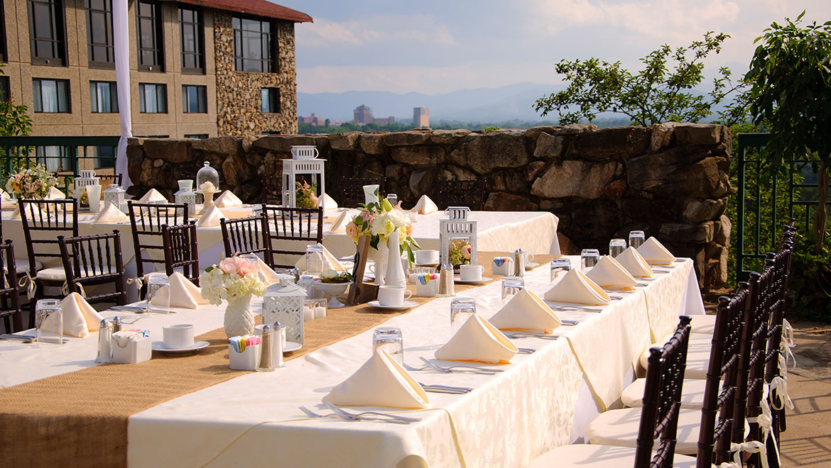wedding reception on the mountain view terrace