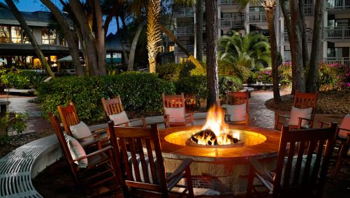 One of two outdoor fire pits in the courtyard of the Omni Hilton Head Oceanfront Resort