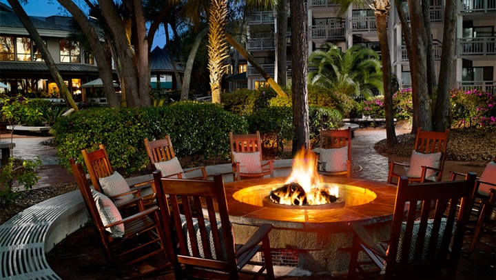 Outdoor fire pit at Hilton Head Resort