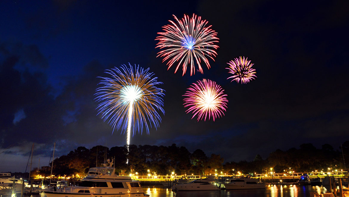 Fireworks at the nearby Shelter Cove Marina and Towne Centre