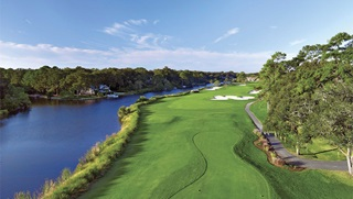Waterfront hole on George Fazio Golf Course at nearby Palmetto Dunes