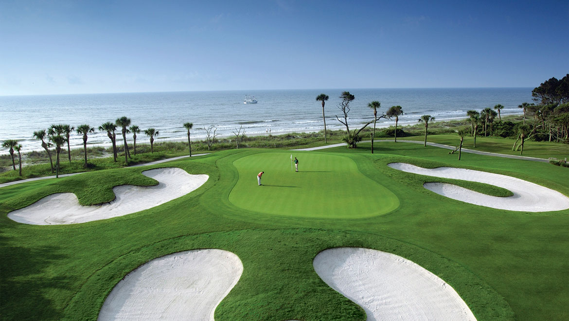 Golf course with ocean view at Hilton Head Resort