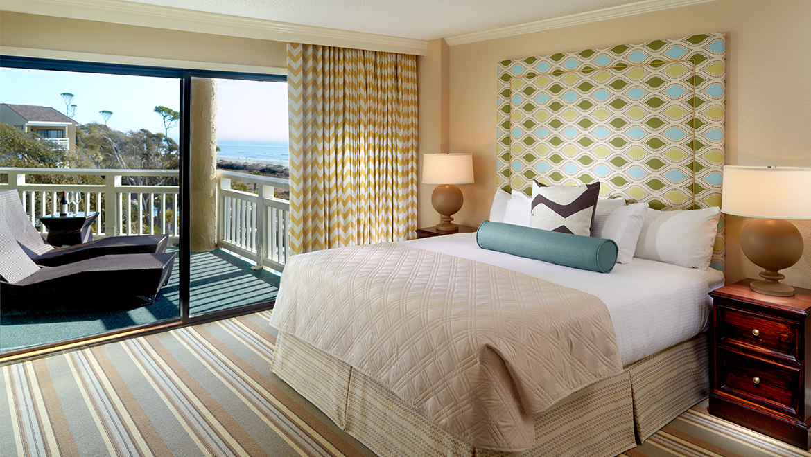 Newly renovated Luxury Oceanfront Suite with king bed and balcony looking over the Atlantic Ocean