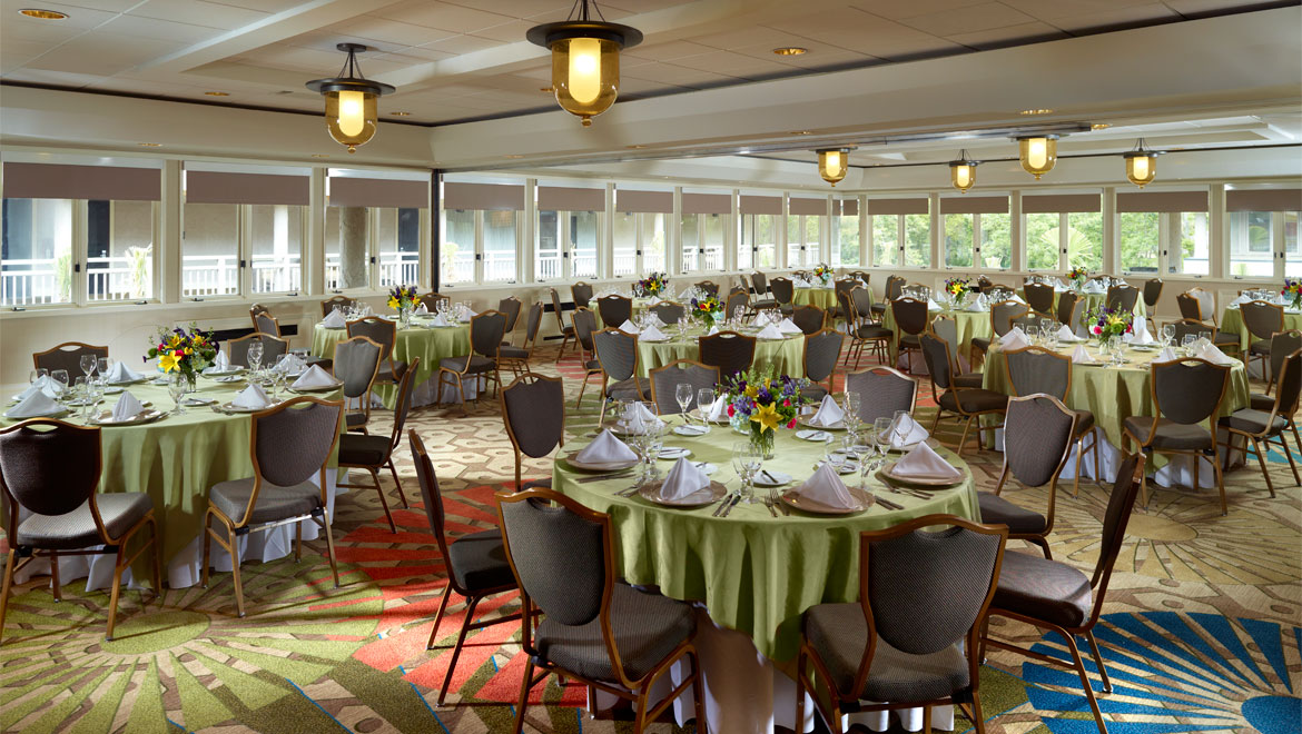 Sabal banquet room set with lunch style seating