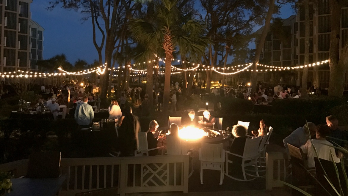 Surround Yourself In Lush Foliage Just Steps From The Ocean This Garden Atmosphere Complete With A Large Fire Pit Is Great For Welcome Receptions