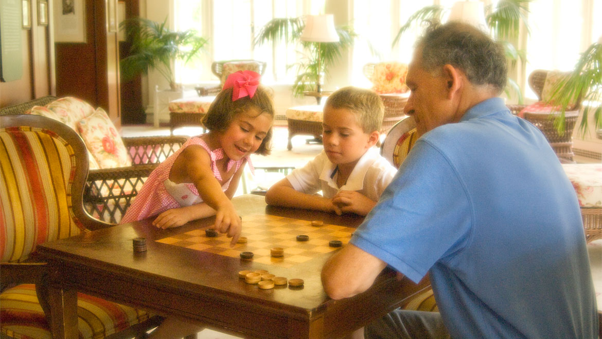 Playing checkers at Homestead Resort