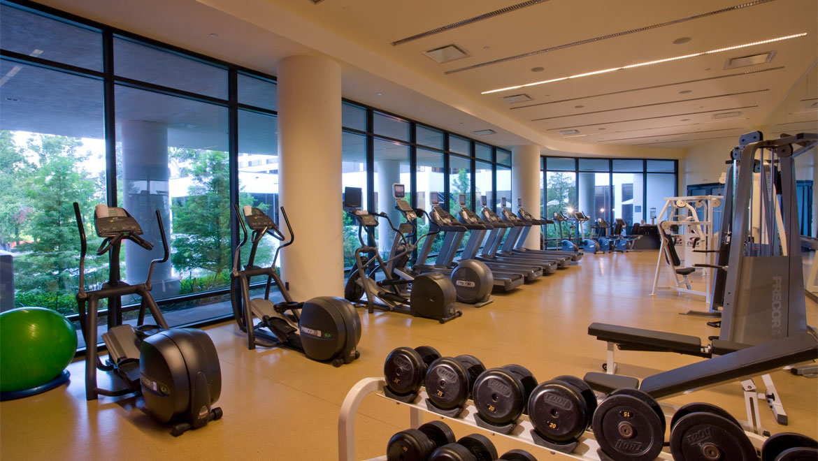 Fitness center at Houston hotel