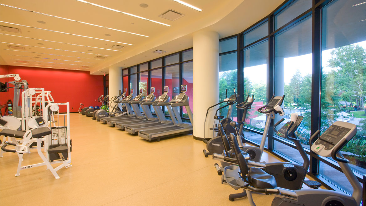 Fitness center with a view at Houston hotel