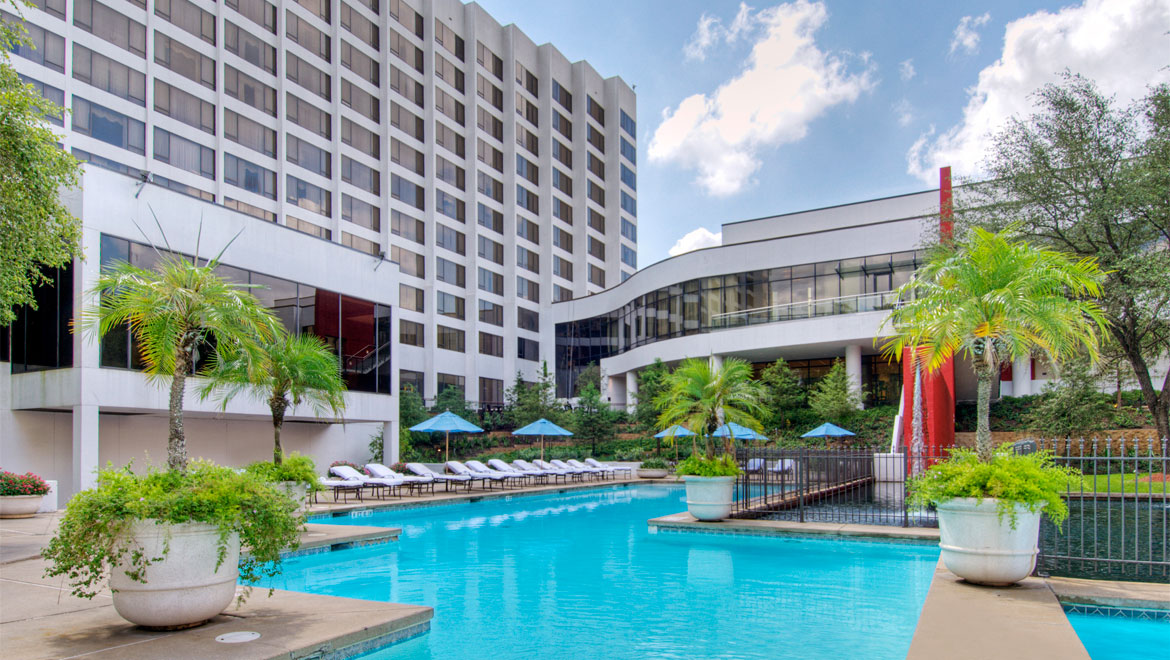 Pool with rear view at Houston hotel
