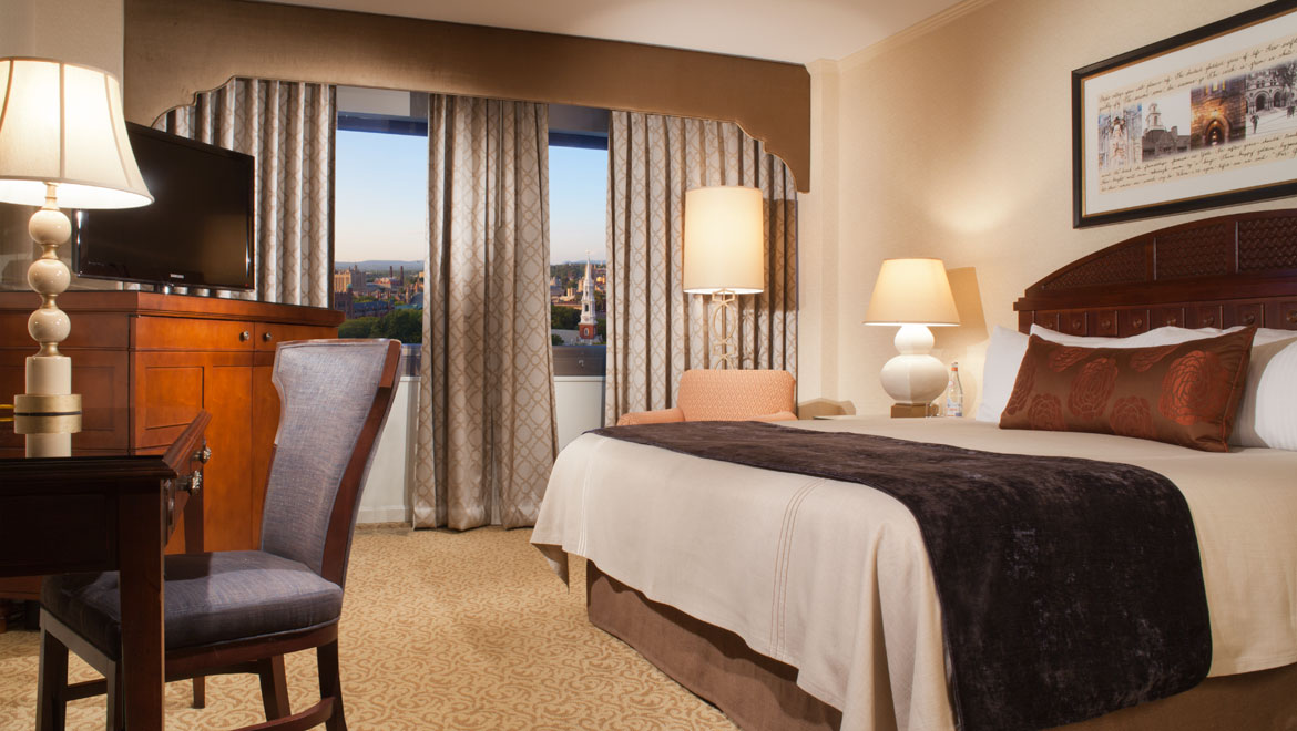 Deluxe guestroom at New Haven hotel