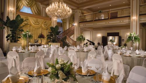 Wedding reception setup at Severin Hotel